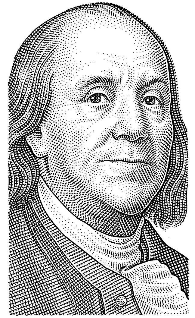 Benjamin Franklin Hedcut By Bill Hallinan Black And White Drawing Cool Art Drawings Portrait Illustration