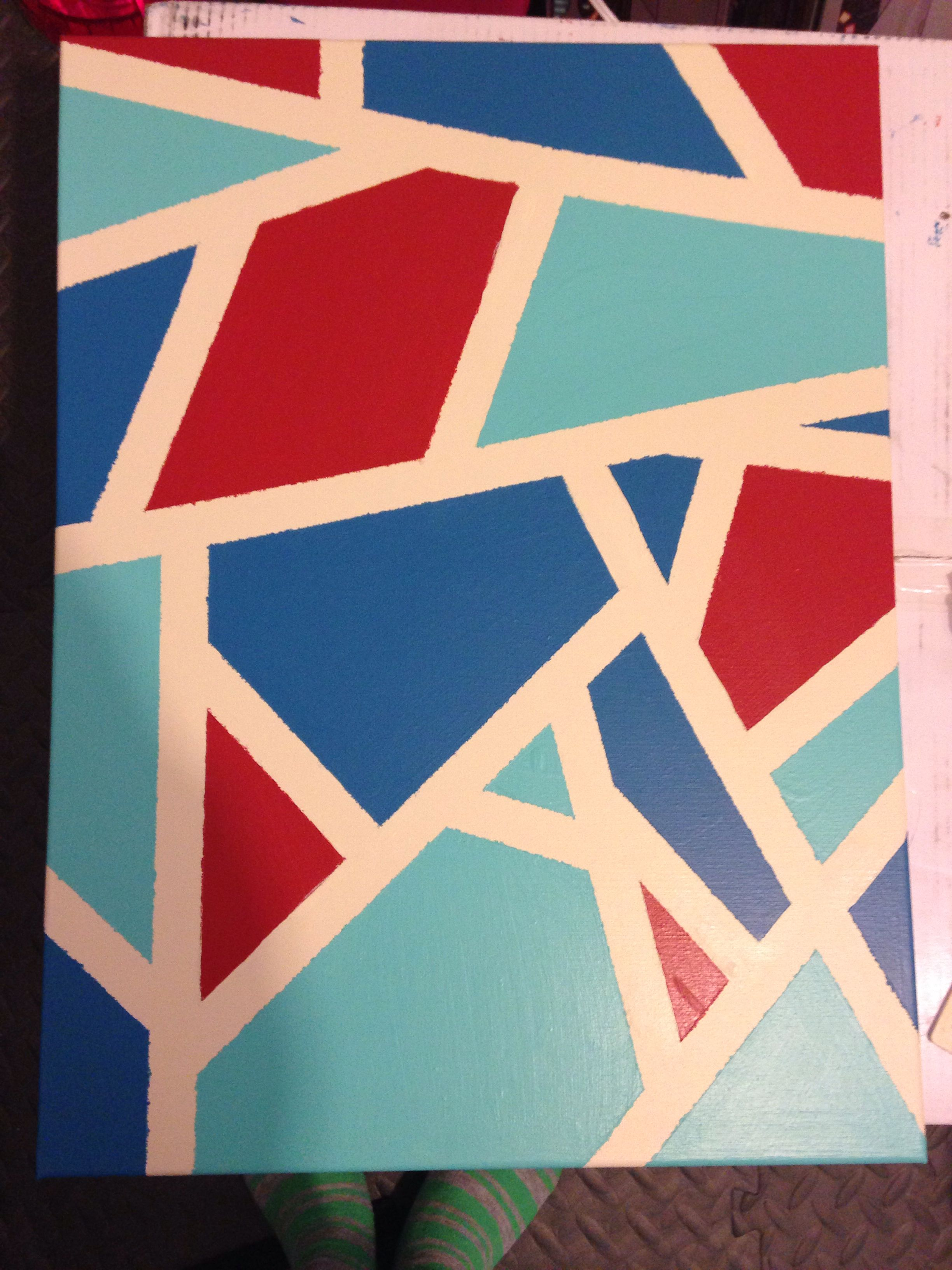 Abstract Diy Canvas Art Paint Solid Then Tape Designs With