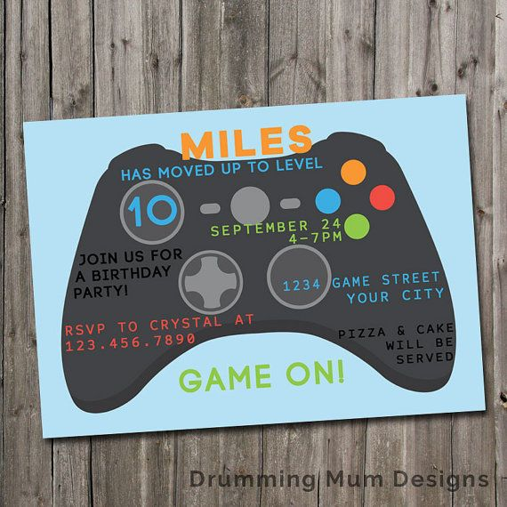 Video Game Party Invitation Gamer Birthday Party Invite Game Truck - Video game birthday invitation template