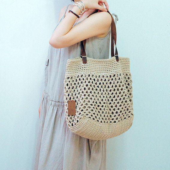 Schöne Beige Baumwolle gehäkelt Tasche häkeln von Vivianzakka -