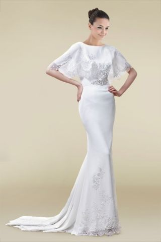 Short Sleeves Sheath Wedding Dress with Exquisite Lace | Dreamy ...