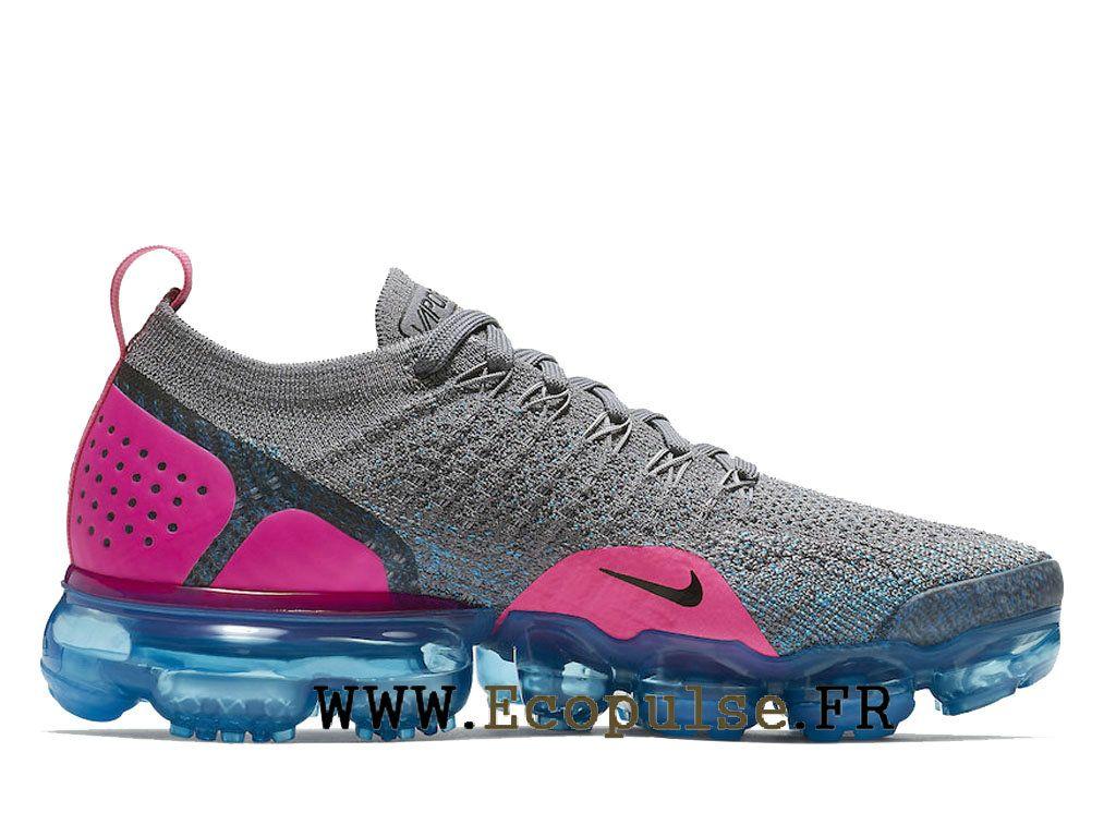 new style bcde8 d3934 Nike Vapormax Flyknit 2.0 Gs Chaussures Nike 2018 Pas Cher Pour Femme Gris  bleu rose 942843