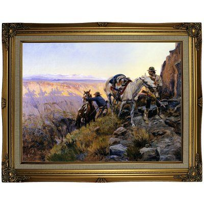 """Loon Peak 'When Shadows Hint Death' Framed Oil Painting Print on Canvas Format: Gold Framed, Size: 23.25"""" H x 29.25"""" W x 1.5"""" D"""