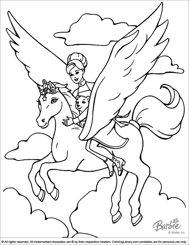Barbie Pegasus coloring page | Coloring pages for kids | Pinterest