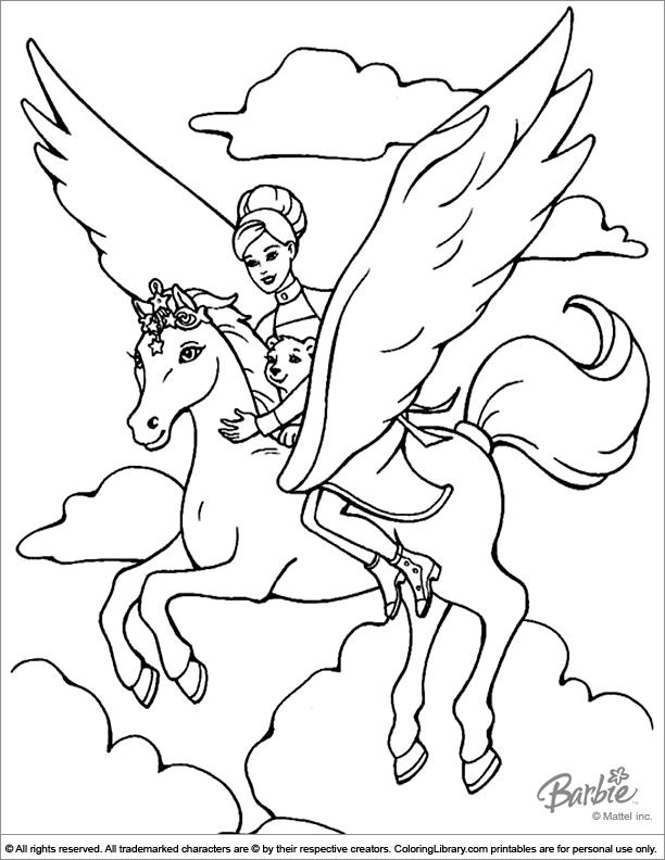 Barbie Pegasus Coloring Page Unicorn Coloring Pages Horse Coloring Pages Fairy Coloring Pages