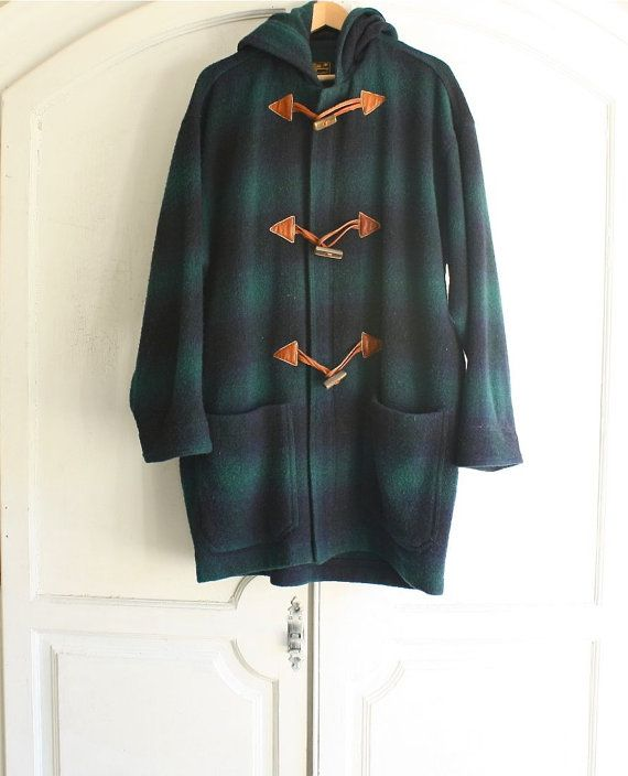 vintage Eddie Bauer plaid duffle coat wool . men's by bohemiennes ...