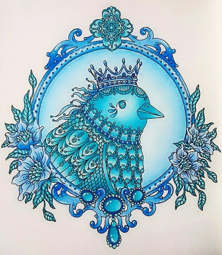 Bird from #magiskgryning  ❄  #coloring #coloringbook #coloringforadults #coloringbooksforadults #adultcoloring #hannakarlzon #bird #flowers #crown #leaf #magicaldawn #artwork #instaart #fabercastell #fabercastellpolychromos #polychromos #posca #softpastel