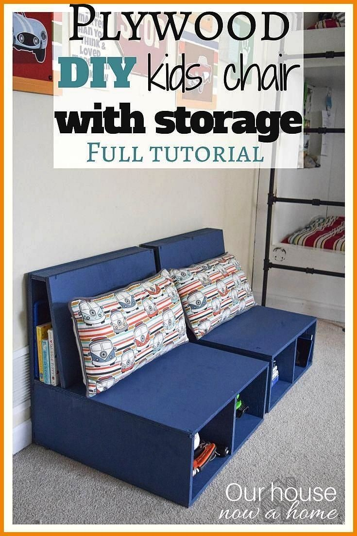 DIY kids chair with storage Step by step instructions shared Perfect for a kids bedroom or playroom See the other 12 plywood projects share Plywood DIY kids chair with st...