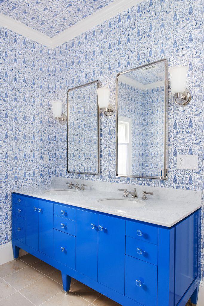 Hygee West Nethercote (Blue) bathroom wallpaper blue vanity #drdbathrooms #colorfurniture