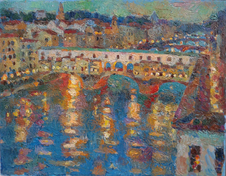 Ponte Vecchio Bridge Original Oil Painting 15x17in