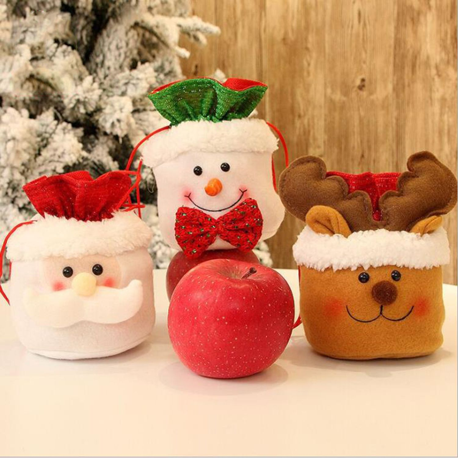 Christmas Decoration Bags Xmas Snowman Apple Bag Eve Apple Box Gift Bags Cute