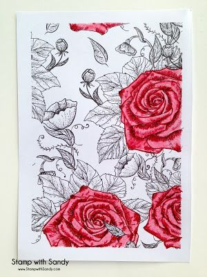 Handmade Card From Stamp With Sandy Coloring Book Page Of Flowers Most Left In Line Art Form Roses Colored Pink And Red Pencils