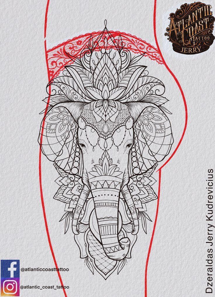 , Elephant Tattoo Idee Design, Oberschenkel Tattoo Mandala Spitze Blackwork Spitze Lotus, My Tattoo Blog 2020, My Tattoo Blog 2020