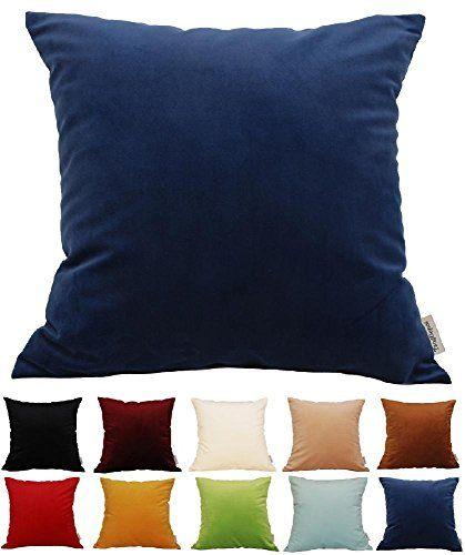 TangDepot Solid Velvet Throw Pillow Cover Euro Sham…