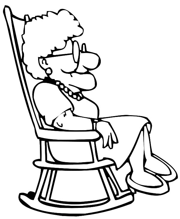 Grandmother Sitting On Rocking Chair Coloring Pages Color Luna Coloring Pages Silhouette Drawing Doodle Drawings