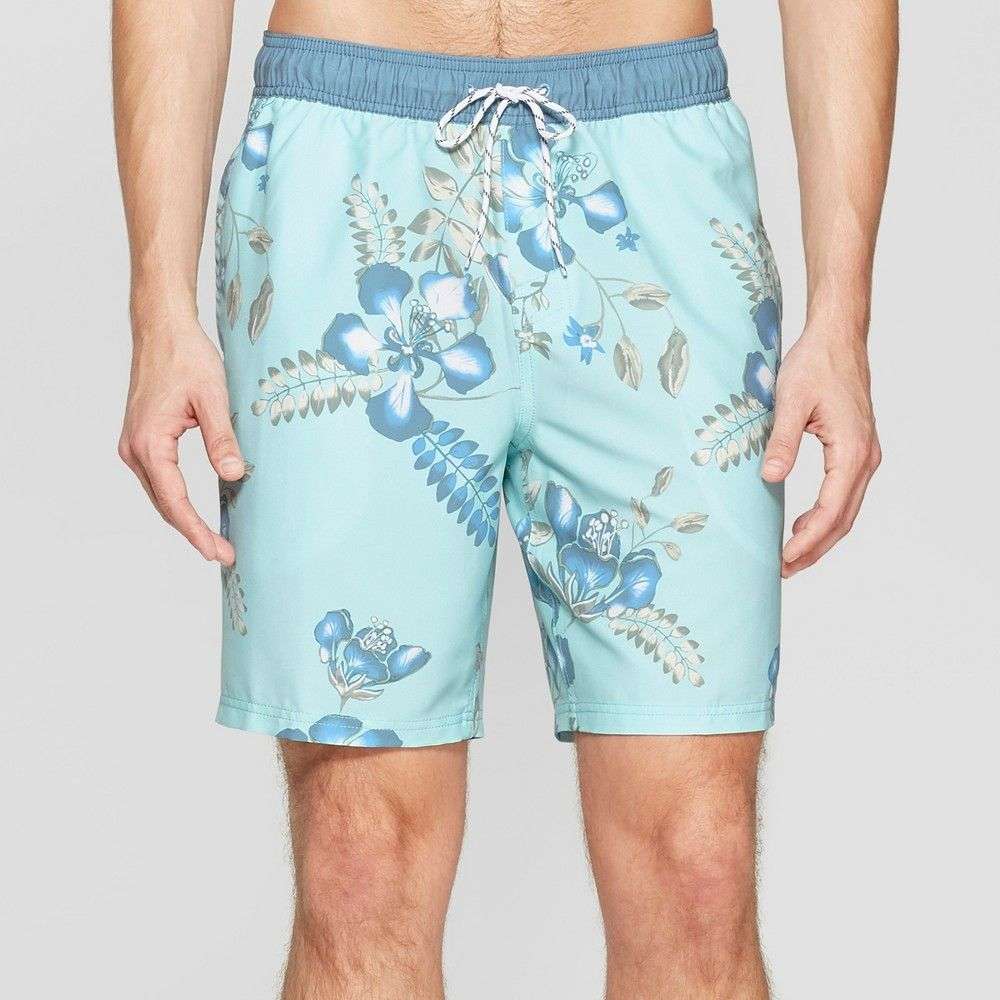 5777318cb0 Stay comfortable while maintaining an on-trend swim look with these men's  Long Volley Board Shorts from Goodfellow and Co. These mid-rise board shorts  ...