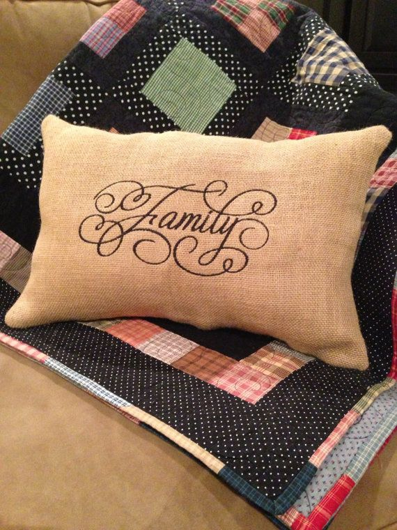 Embroidered Family Burlap Pillow by ssstitches on Etsy, $20.00