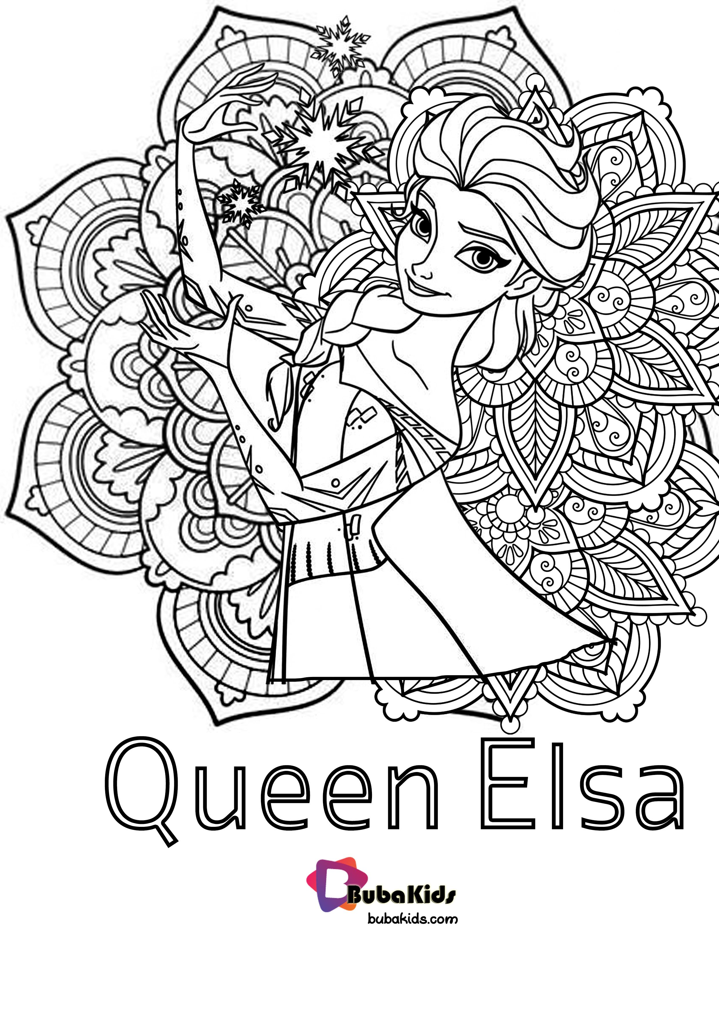 Queen Elsa Floral Coloring Pages Free Printable Coloringpages Elsa Floral Mandala Queen Colori Elsa Coloring Pages Cartoon Coloring Pages Coloring Pages