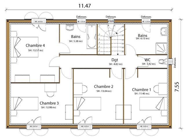 plan de maison a etage 4 chambres gratuit