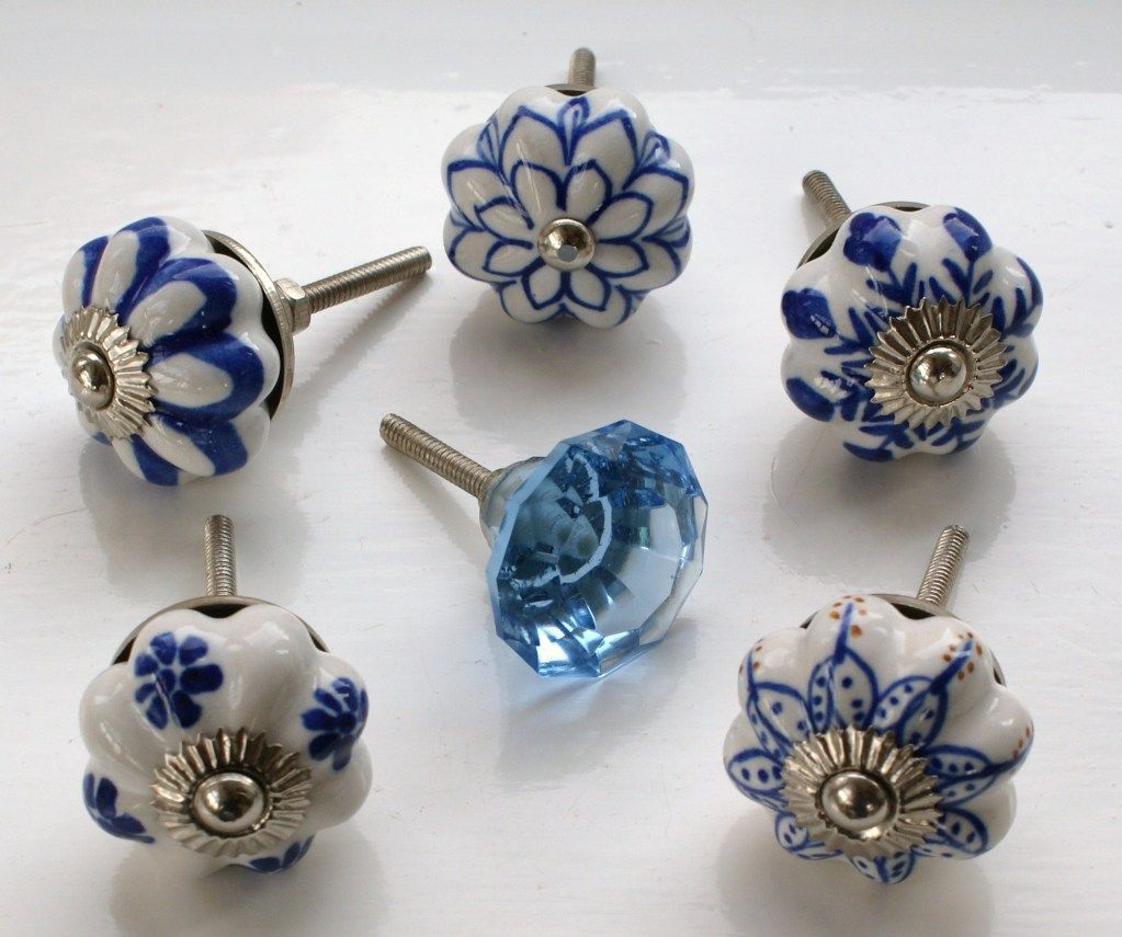 These Please Blue White Ceramic Glass Door Knobs Handles Drawer Kitchen Flower
