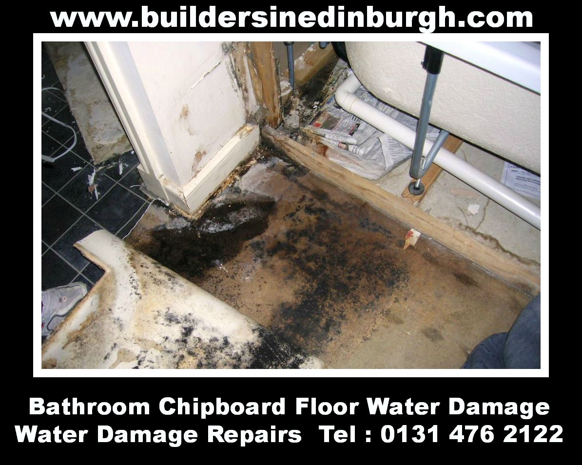 Water damage floor repairs leaking pipes and defective bath seal