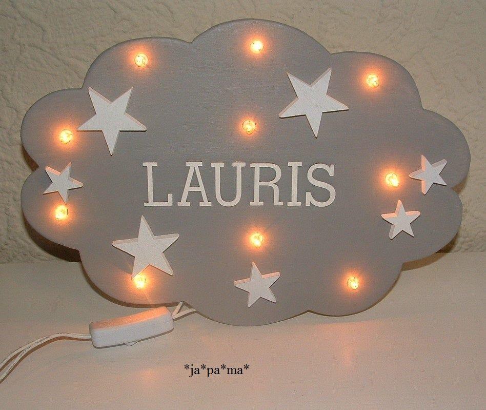 Schlummerlampe Wolke Mit Namen Lampe Personalisiert Wandlampe Kinderzimmerlampe Geschenk Taufgeschenk Geburt Led Fairy Lights Nursery Lamp Fairy Lights