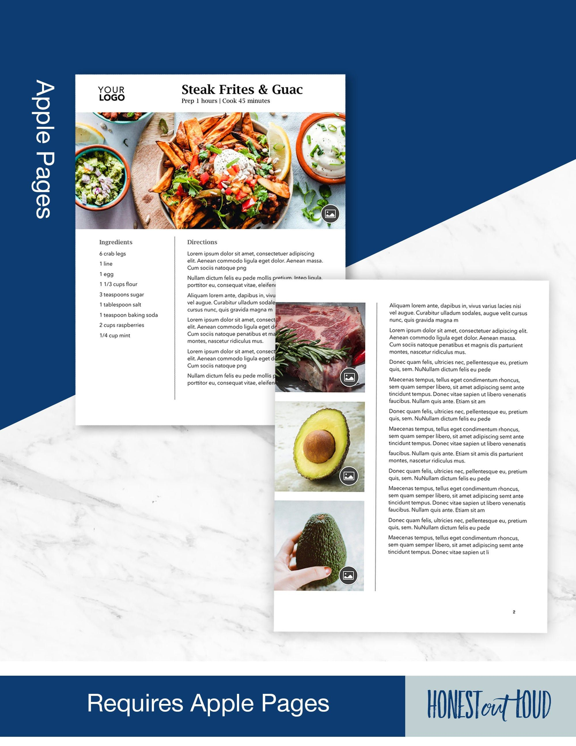 Recipe Cookbook Template For Apple Pages Printable Instant Download Us Letter A4 Customize Personalize Bind 2 Pages For Long Recipe Cookbook Template Cookbook Recipes Recipe Template