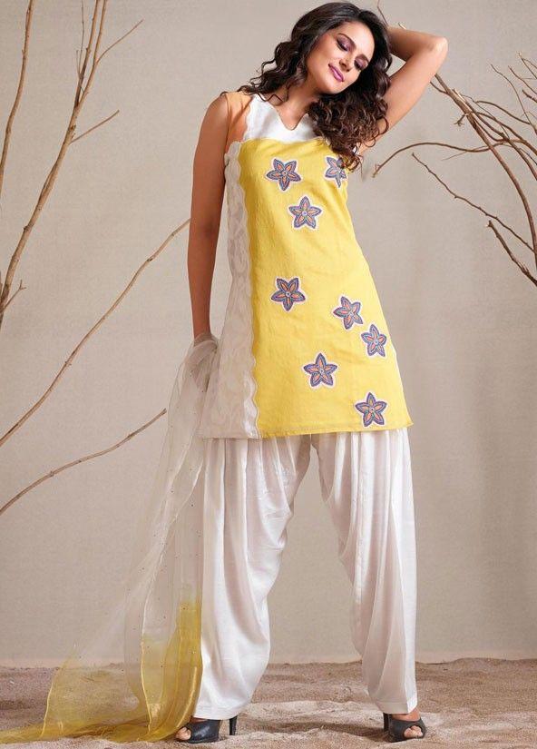 792994c5ad Lemon Yellow and Off White Readymade Salwar Suit | Salwar Kameez ...