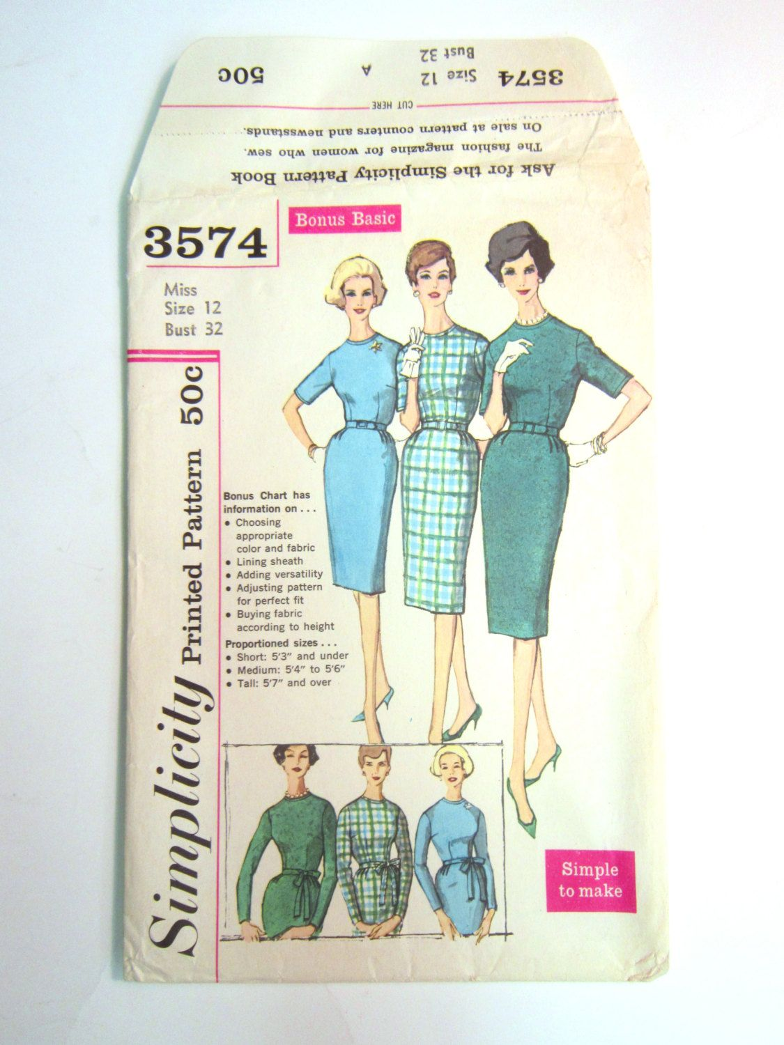 Basic Dress Pattern Vintage Mid Century 1960s Fitted Sheath Dress ...