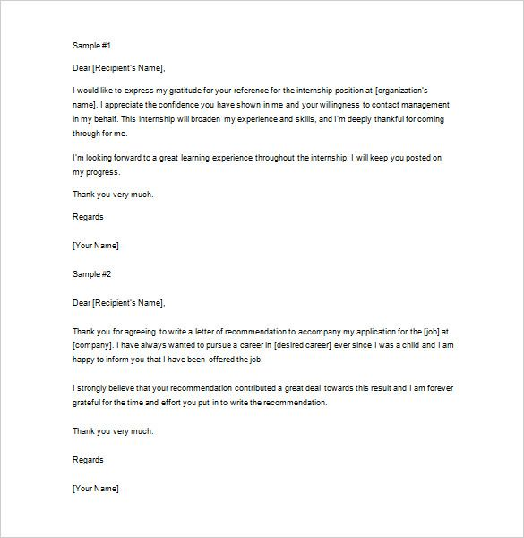 thank you letter for recommendation 9 free sle News to Go 2 - internship thank you letter