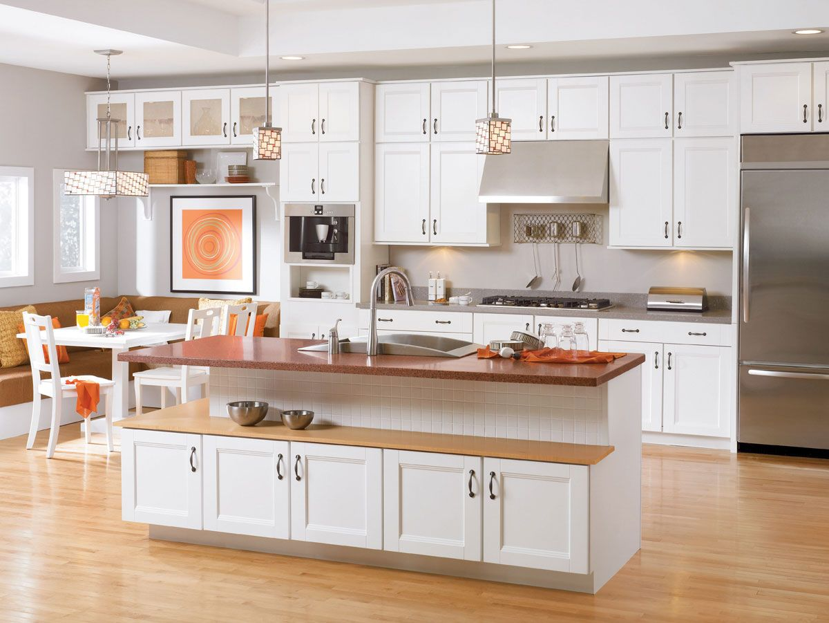 Thermofoil Kitchen Cabinets Waypoint Living Spaces Style T02 In White Thermofoil