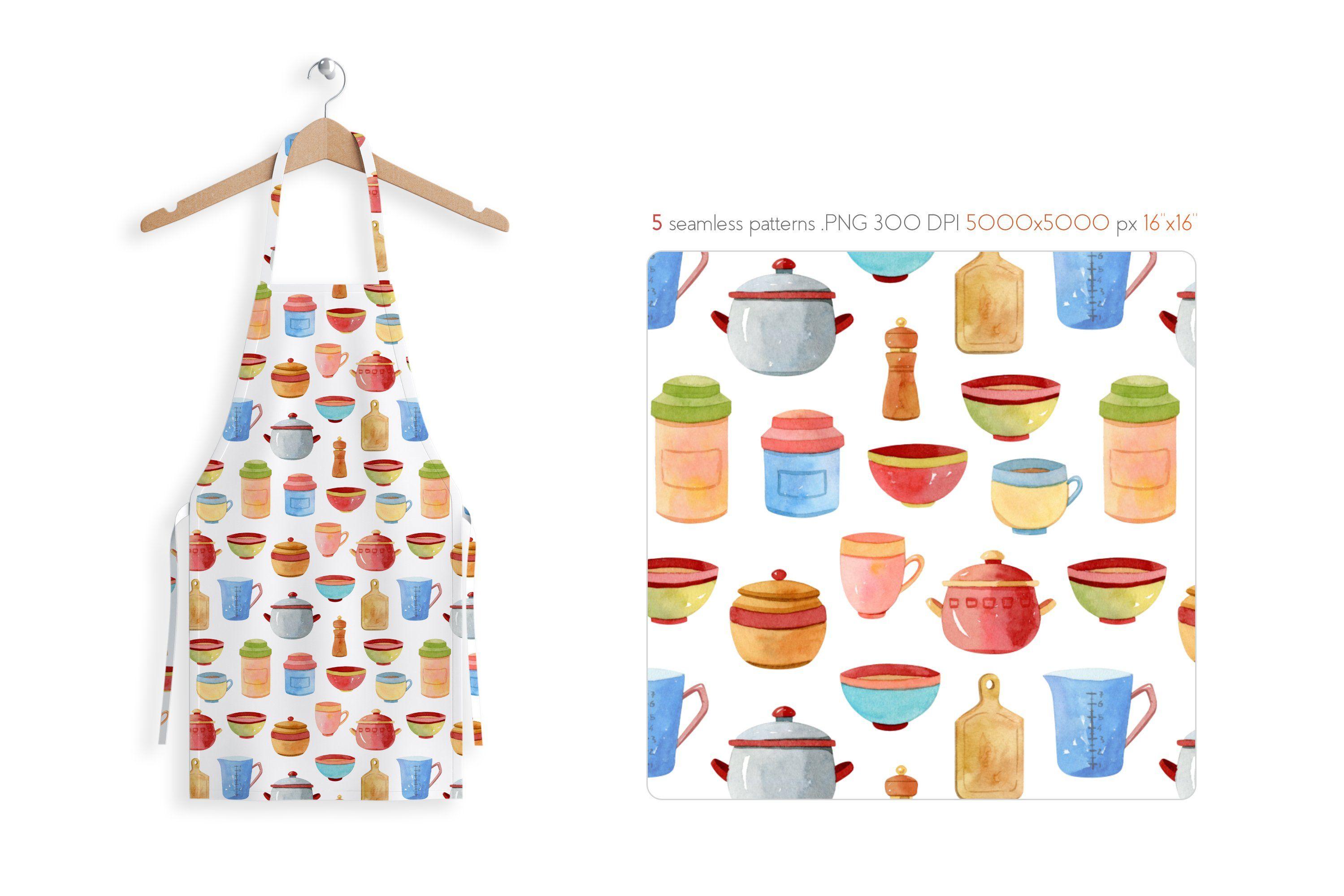 Watercolor Kitchen Utensils Set 2 Affiliate Background