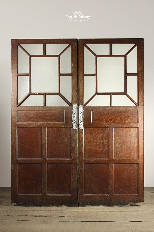 Antique Oak Double Doors With Bevelled Glass Interior Doors For