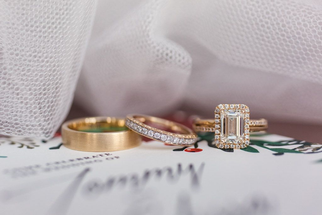 Gold Wedding Bands And Diamond Engagement Ring For Chicago Winter Gallery 1028 Wedding