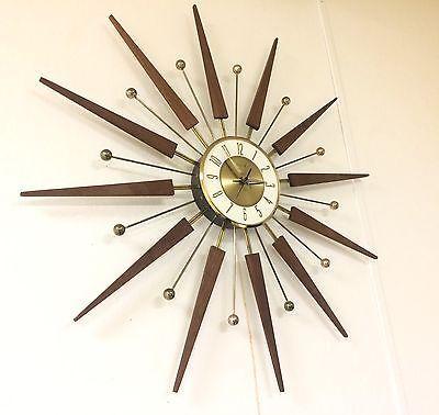 Vintage Elgin Starburst Wall Clock Mid Century Atomic