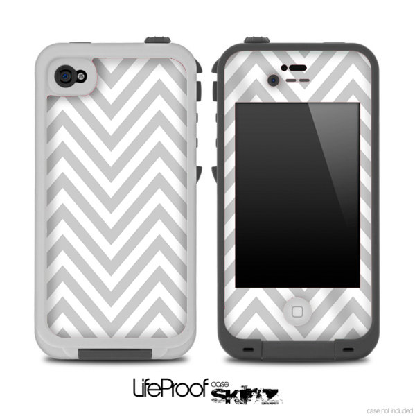 White and Gray Chevron Pattern for the iPhone 5 or 4/4s LifeProof Case