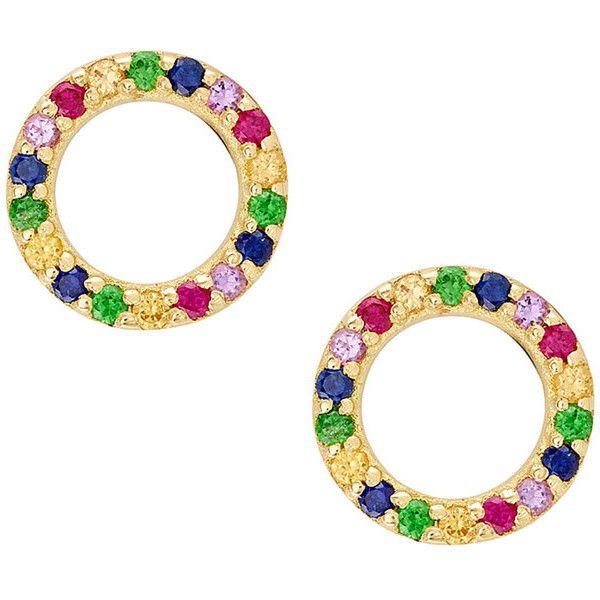 Lana Girl by Lana Jewelry Girls Mini Circle Rainbow Sapphire Earrings sNvL4Iv