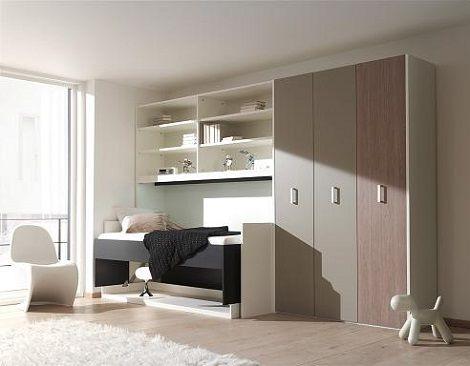 boone bed flat office buro kleur: zwart, wit, bed en bureau in een, Deco ideeën
