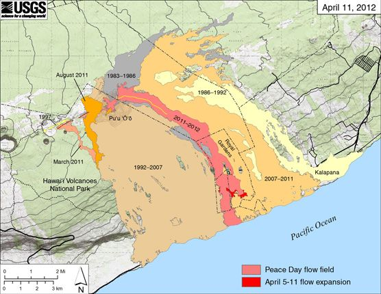 Hawaii Map Lava.Great Map Of Lava Flow In Hawaii Past And Today Hawaii