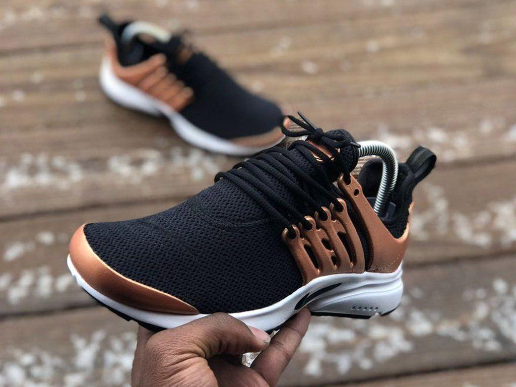 Custom Black and Rose Gold Nike Prestos