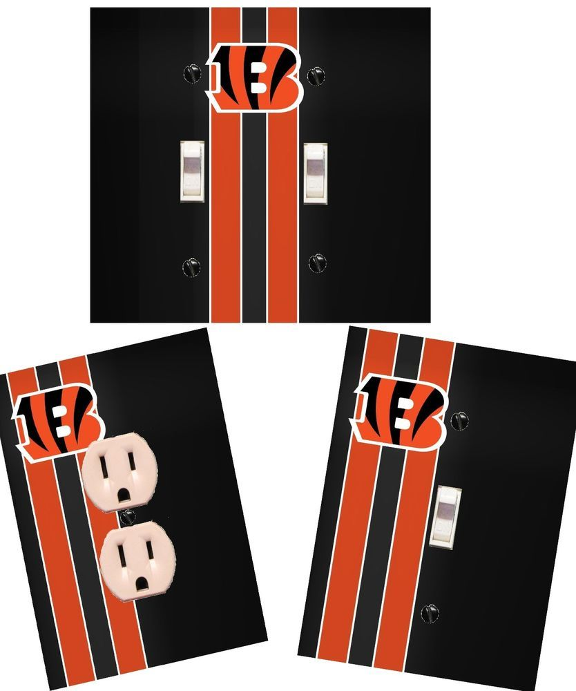 Cincinnati bengals light switch wall plate custom covers man cave room decor ebay also rh pinterest