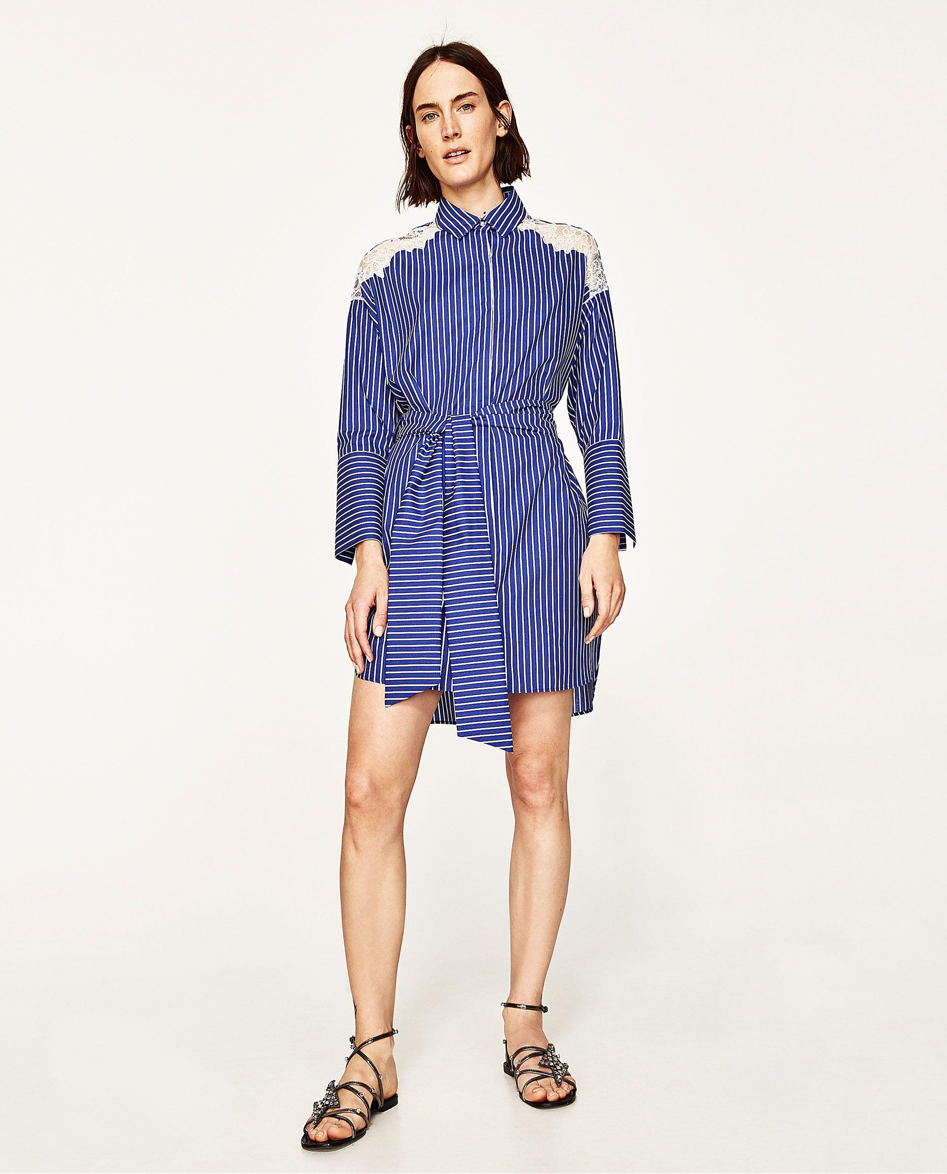 Vestido azul rayas zara