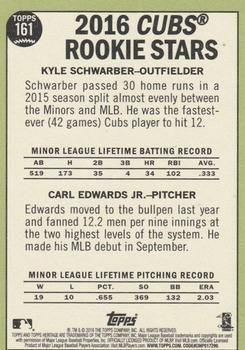 2016 Topps Heritage #161a Kyle Schwarber  / Carl Edwards Jr. Back