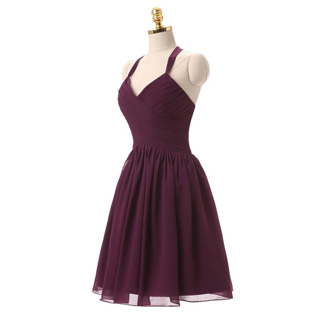 Elegant halter burgundy chiffon short homecoming dress girls