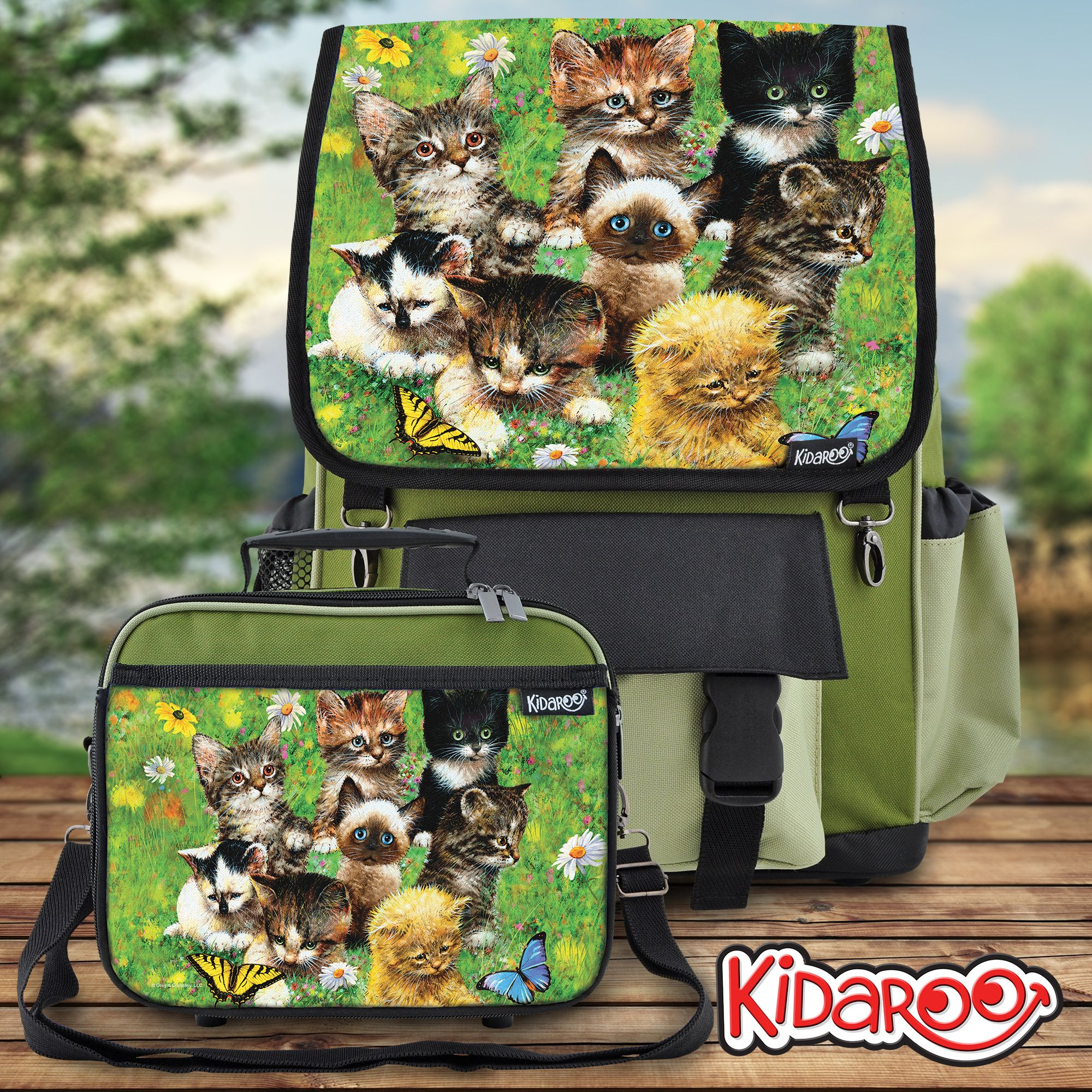 Kidaroo Cute Little Kittens High Quality Khaki Backpack   Lunchbox For  Girls 8b839076e86da