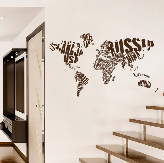 World Map Wall Decals Country Words Vinyl Sticker Decal Interior
