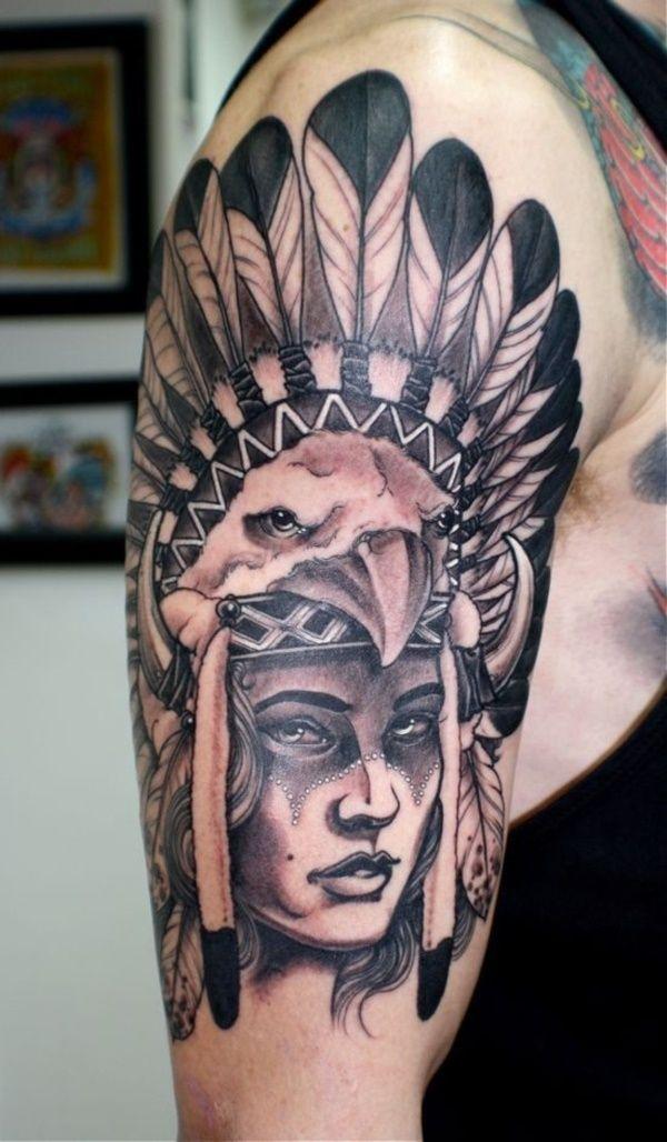 55 Traditional Native American Tattoo Design American border=
