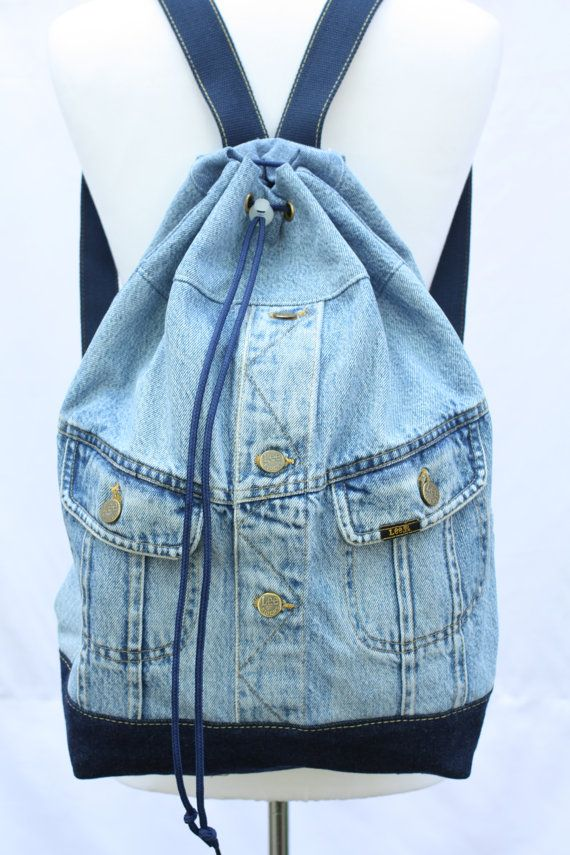 a3a905cc9 Denim backpack repurposed jean jacket big bucket drawstring bag ...
