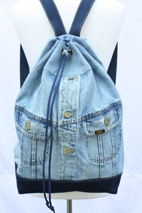 84bbb295b5ef Denim backpack repurposed jean jacket big bucket drawstring bag ...