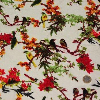 Tissu Voile de viscose Fleurs et oiseaux jaunes oranges - fond écru